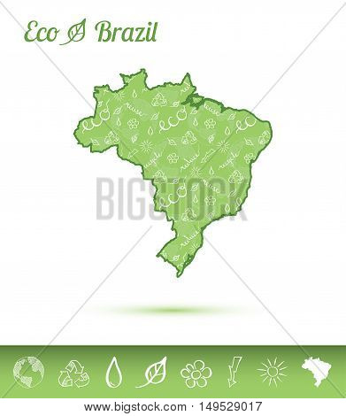 Brazil Eco Map Filled With Green Pattern. Green Counrty Map With Ecology Concept Design Elements. Ve
