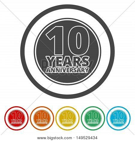 Anniversary icon set. Anniversary symbols isolated on white background. 10 years