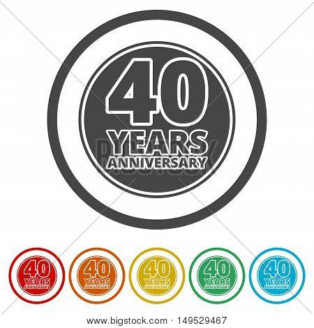 Anniversary icon set. Anniversary symbols isolated on white background. 40 years