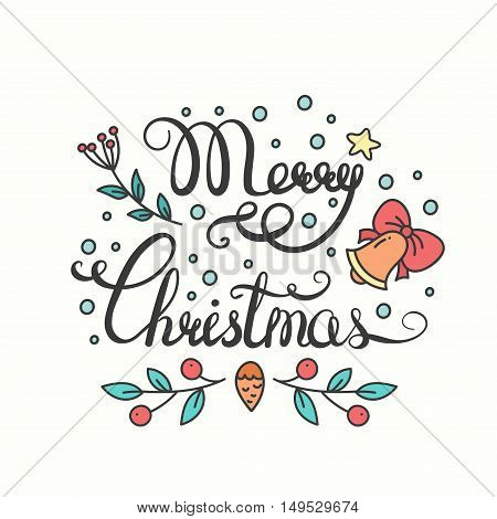 Merry Christmas Lettering Design. Typographic Background with Christmas Greetings. Line Art Style. Illustration for Congratulation Card and Poster.