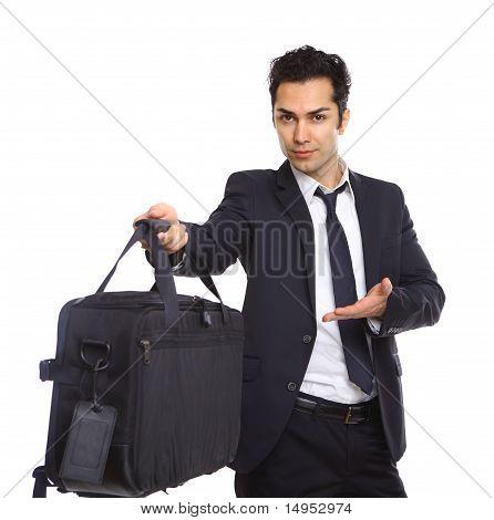 Business Man Handing Over A Briefcase