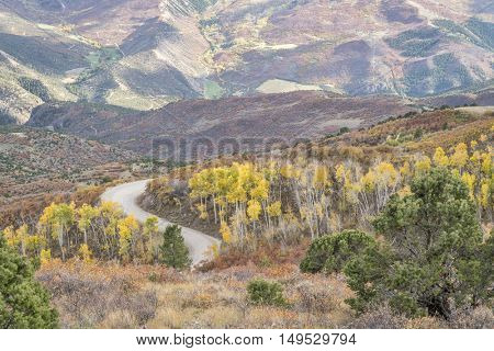 Coffee Pot road above Colorado RIver near Dotsero, Colorado with aspen grove in fall colors