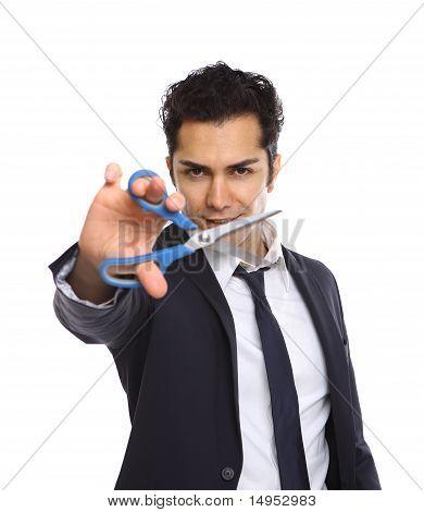 Businessman With Scissors Cutting