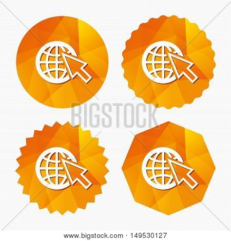 Internet sign icon. World wide web symbol. Cursor pointer. Triangular low poly buttons with flat icon. Vector