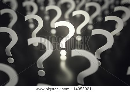 Question marks with depth of field. Concept Idea or problem. 3d rendering.