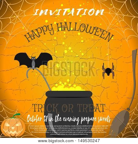 Vector invitation to Halloween with broom magic cauldron spider bat pumpkin on the cracked background.