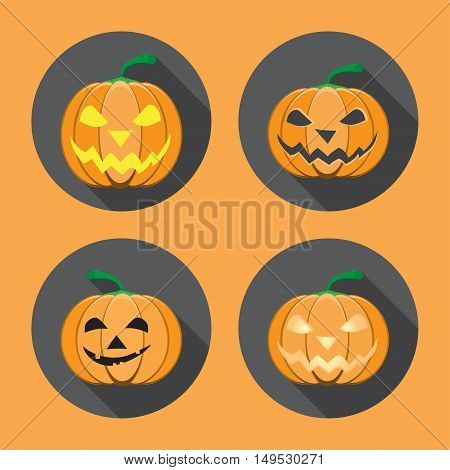 Vector set of isolated Halloween labels in gray circles with shadow.