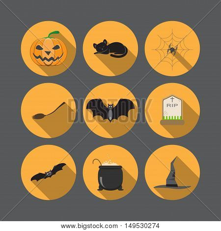 Vector set of isolated Halloween icons on the yellow background with shadow.