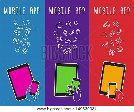 Vector banner with mobile devices. Vertical banner with touch screen. Banner with mobile tablet. Vector hand touching mobile tablet. Bubble banner. Notification of mobile app. Presentation for store