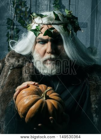 Fairytale gray magician with beard and wreath of ivy holding gourd in his hands