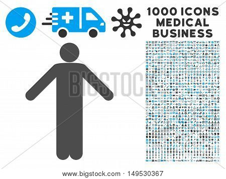 Ignorance Pose icon with 1000 medical business gray and blue glyph pictograms. Set style is flat bicolor symbols white background.