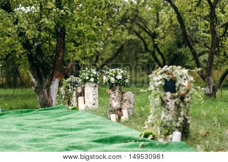 Wedding decoration of white roses on the marriage registration. Mounted on birch stumps, in a beautiful garden. General plan.