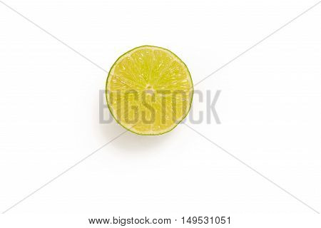 Cutout of a single slice of lime