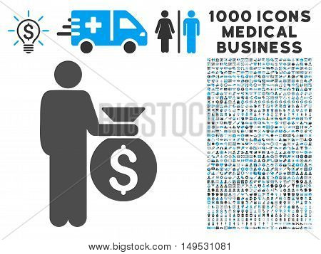Investor icon with 1000 medical business gray and blue glyph pictographs. Collection style is flat bicolor symbols white background.