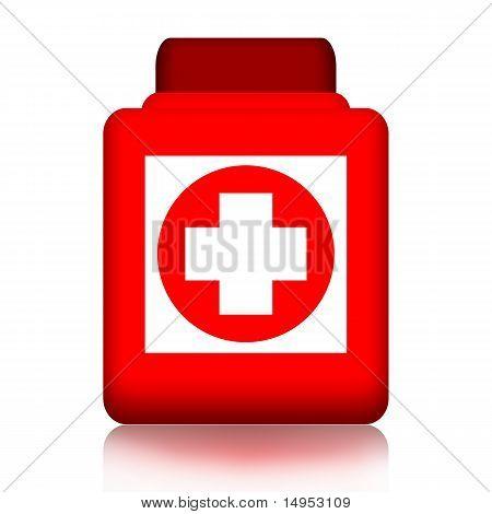 Jar of pills with medical cross