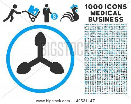 Isometric Arrows icon with 1000 medical commercial gray and blue glyph design elements. Set style is flat bicolor symbols white background.