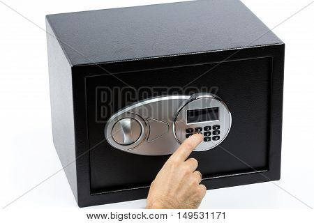 Man's Hand Opening Electronic Door Of A Safe Deposit Box
