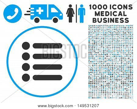 Items icon with 1000 medical commerce gray and blue glyph pictograms. Collection style is flat bicolor symbols white background.
