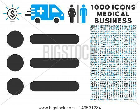 Items icon with 1000 medical commerce gray and blue glyph pictographs. Collection style is flat bicolor symbols white background.