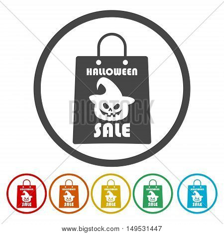 Halloween sale background with scary shopping bags design.