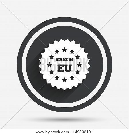Made in EU icon. Export production symbol. Product created in European Union sign. Circle flat button with shadow and border. Vector