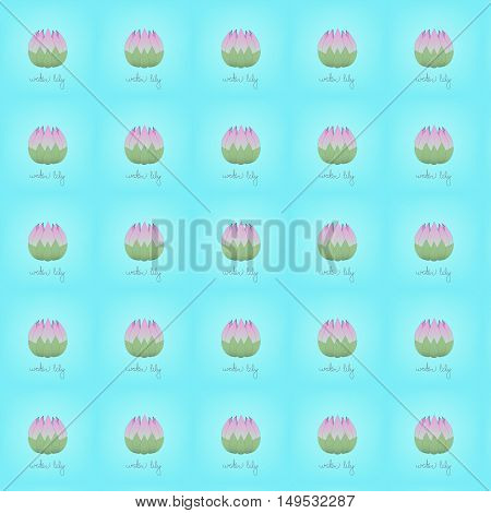 seamless pattern pink water lily on the gentle turquoise background with letters