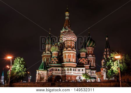 St. Basil's Cathedral in the night in Moscow, Russia
