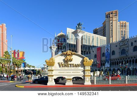 LAS VEGAS - DEC 24: Entrance of The Venetian Resort on Las Vegas Strip on Dec. 24, 2015 in Las Vegas, Nevada, USA. The Venetian resort complex is the second largest hotel in the world.