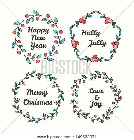 Christmas Wreath Set. Line Style Winter Collection. Greeting Typography. Hand Drawn Circle Frame With Wishes. Vector Illustration. Holly Jolly