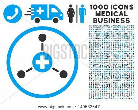 Medical Center icon with 1000 medical business gray and blue glyph design elements. Clipart style is flat bicolor symbols white background.