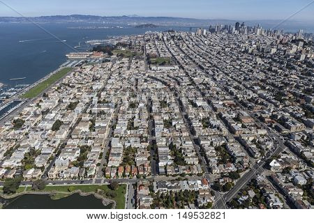 Aerial view of the Marina District neighborhood in San Francisco, California.
