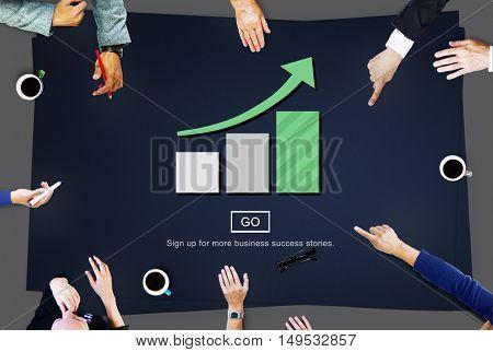 Bar Graph Analysis Increase Growth Concept