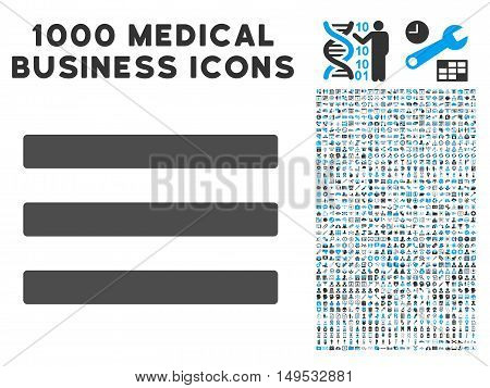 Menu icon with 1000 medical business gray and blue glyph pictographs. Design style is flat bicolor symbols white background.