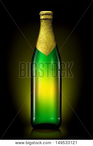 Bottle of beer with golden foil with clipping path isolated on black background