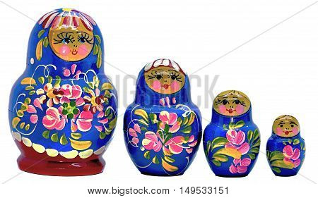 Blue Matryoshka Russian dolls on white Background