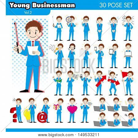 set of various poses of young businessman in blue suit