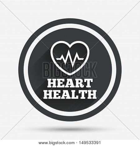 Heartbeat sign icon. Heart health cardiogram check symbol. Circle flat button with shadow and border. Vector