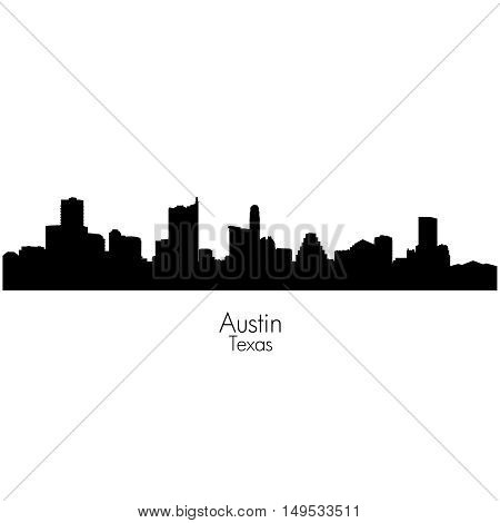 Austin city, capital of Texas black vector silhouette skyline