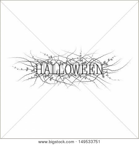 The cover of the invitation on Halloween. The depicts the phrase Halloween in black on a white background and a prickly shrub with few leaves.