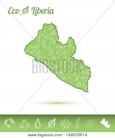 Liberia Eco Map Filled With Green Pattern. Green Counrty Map With Ecology Concept Design Elements. V