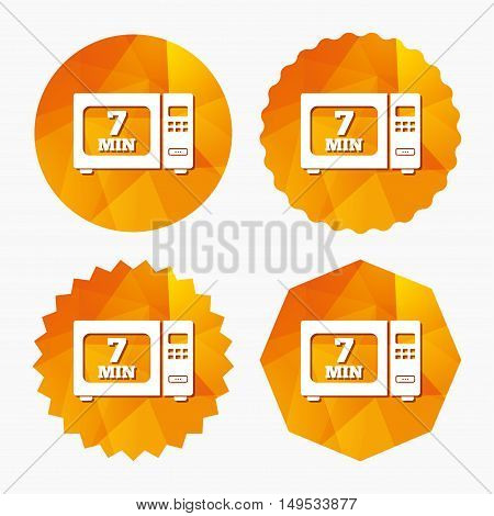 Cook in microwave oven sign icon. Heat 7 minutes. Kitchen electric stove symbol. Triangular low poly buttons with flat icon. Vector