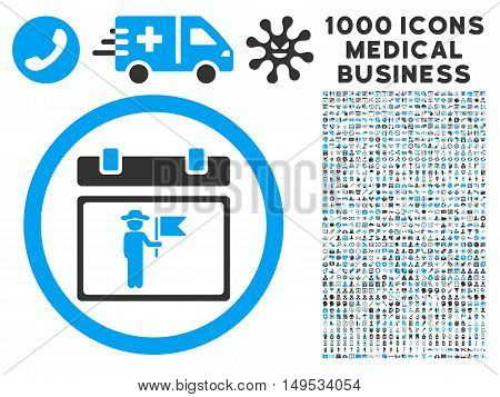 National Holiday Day icon with 1000 medical business gray and blue glyph design elements. Clipart style is flat bicolor symbols, white background.