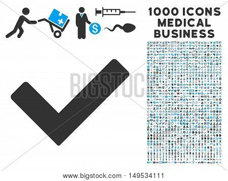 Ok icon with 1000 medical commercial gray and blue glyph pictographs. Design style is flat bicolor symbols, white background.