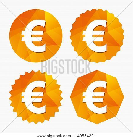 Euro sign icon. EUR currency symbol. Money label. Triangular low poly buttons with flat icon. Vector