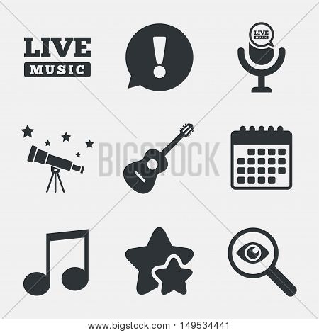 Musical elements icons. Microphone and Live music symbols. Music note and acoustic guitar signs. Attention, investigate and stars icons. Telescope and calendar signs. Vector