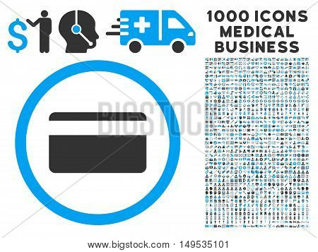 Plastic Card icon with 1000 medical commercial gray and blue glyph pictograms. Clipart style is flat bicolor symbols, white background.