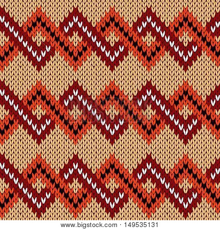 Knitting Seamless Zigzag Pattern In Various Warm Colors