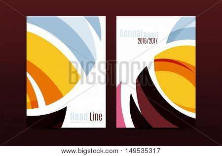 Abstract business annual report brochure cover, wave pattern. Vector illustration