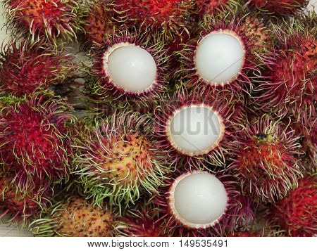 rambutan sweet delicious Thai fruit On a white background.