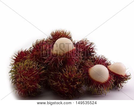 rambutan sweet delicious of fresh Thai White background.